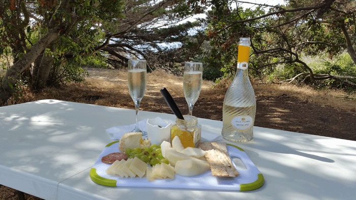 Our Chartuerie Board - Picnic on last day of vacation at El Capitan State Beach