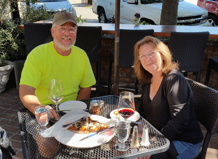Ron and I at a pizza restaurant in Solvang