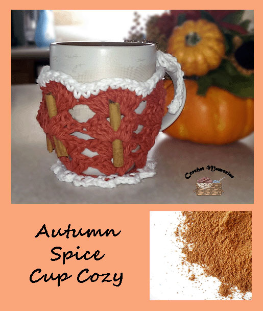 www.crochetmemories.com/blog Free pattern for a fall cup cozy to include recipes too