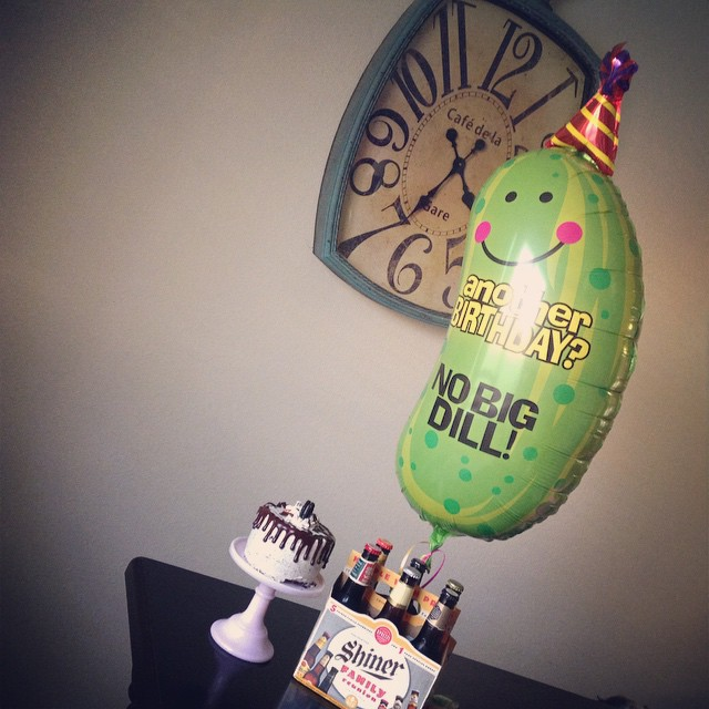 Husband's birthday is tomorrow, we can never surprise him, so the girls got him a few things at HEB a day early.. That balloon ?