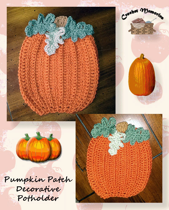 Pumpkin Patch Decorative Potholder Crochet Memories Blog