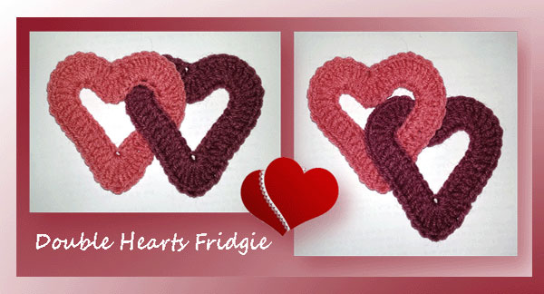 www.crochetmemories.com/blog Free pattern for a Valentine's double heart fridgie