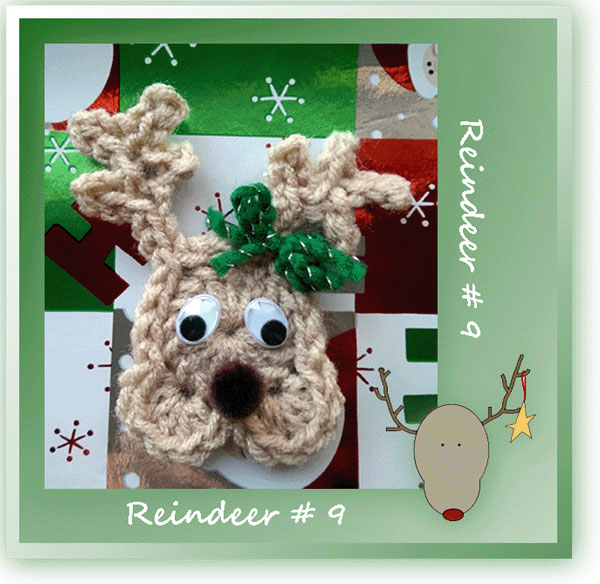 www.crochetmemories.com/blog Free pattern for a Christmas reindeer ornament or fridgie
