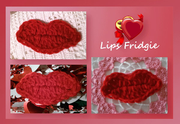 www.crochetmemories.com/blog Free pattern for a Valentines lips fridgie