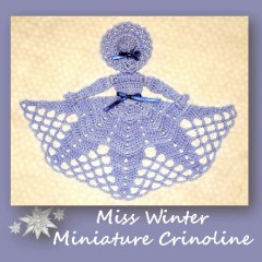 www.crochetmemories.com/blog Free pattern for a miniature crinoline lady doily