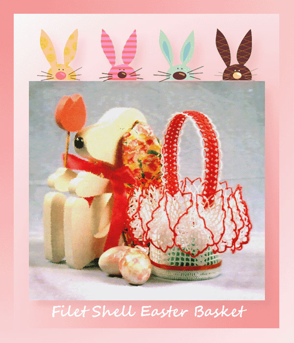 www.crochetmemories.com/blog Free pattern for a thread ruffled Easter basket