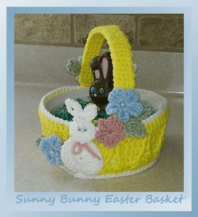 www.crochetmemories.com/blog - pattern for a yarn Easter basket featuring bunnies and crochet flowers