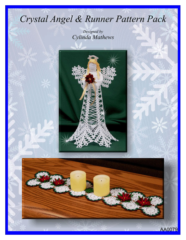 www.crochetmemories.com/blog - Pattern Pack to include thread crochet angel and poinsettia runner patterns