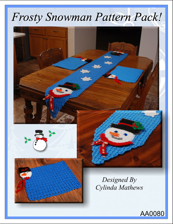 www.crochetmemories.com/blog - Pattern pack to include our Frosty Snowman Runner and Placemat.  Our Frosty Snowman Cup Cozy is available for free on the blog!