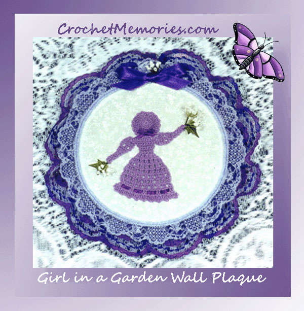 www.crochetmemories.com/blog - Free pattern for a crinoline girl in a plaque