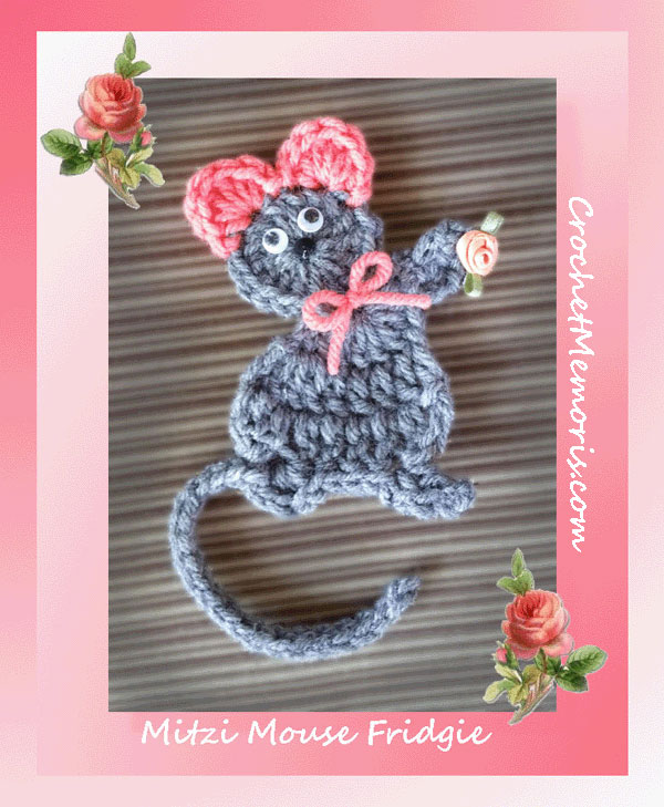 www.crochetmemories.com/blog - Free pattern for a yarn mouse fridgie