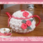 www.crochetmemories.com/blog - Free pattern for a yarn spring floral tea cozy