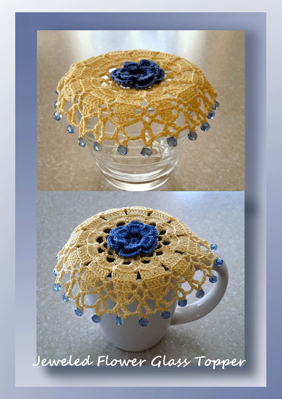 Jeweled Flower Glass Topper