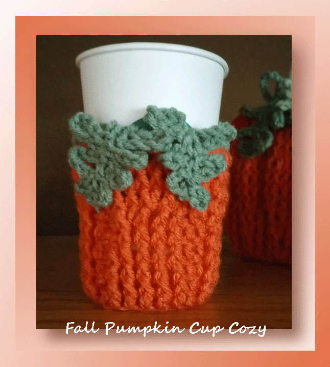 Fall Pumpkin Cup Cozy - Free crochet cup cozy pattern