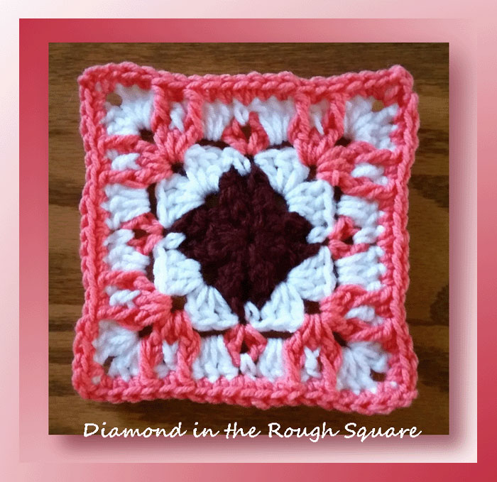 Diamond In The Rough Square Free Crochet Granny Square Pattern