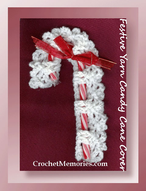 Festive Yarn Candy Cane Cover
