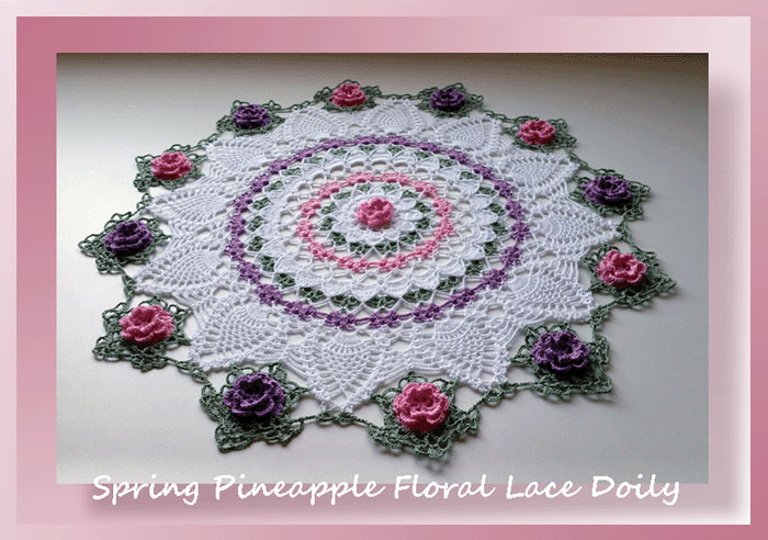 Spring Pineapple Floral Lace Doily