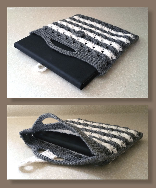 Slant Stitch Striped Tablet Tote
