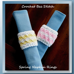 Crochet Bee Stitch Spring Napkin Rings