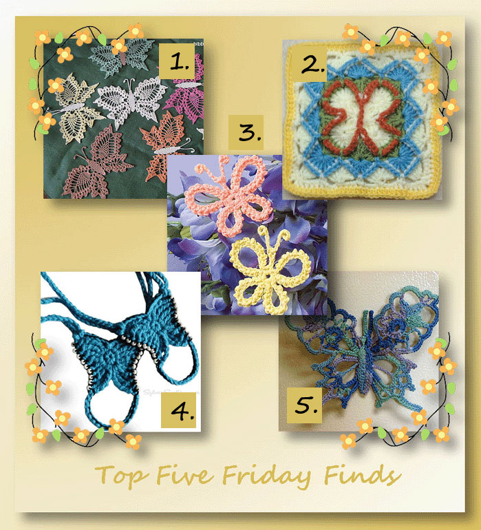 Top Five Friday Finds in Crocheted Butterflies