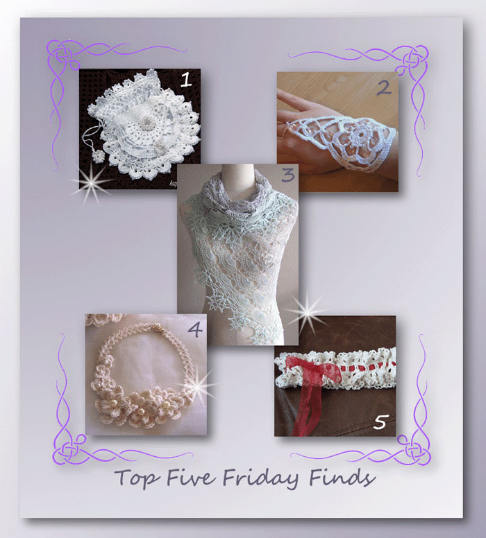 Top Five Friday Finds in free crochet bridal accessory patterns
