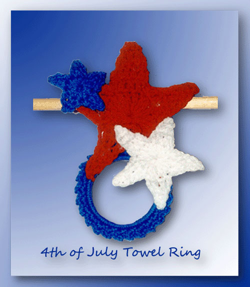 4th of July Star Towel Ring - Free crochet pattern for a patriotic towel ring