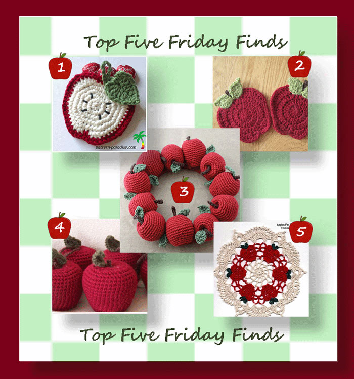 Top Five Friday Finds 8-11-17 in crochet apples