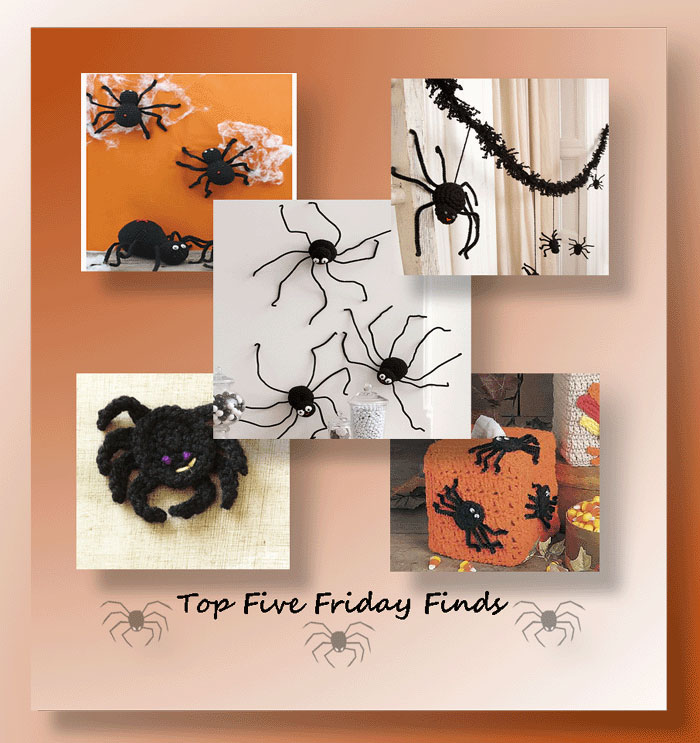 Top Five Friday Finds in free crochet patterns for Halloween spiders