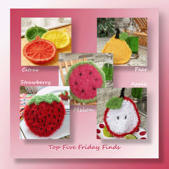 Top Five Friday Finds in free crochet fruit scrubby patterns
