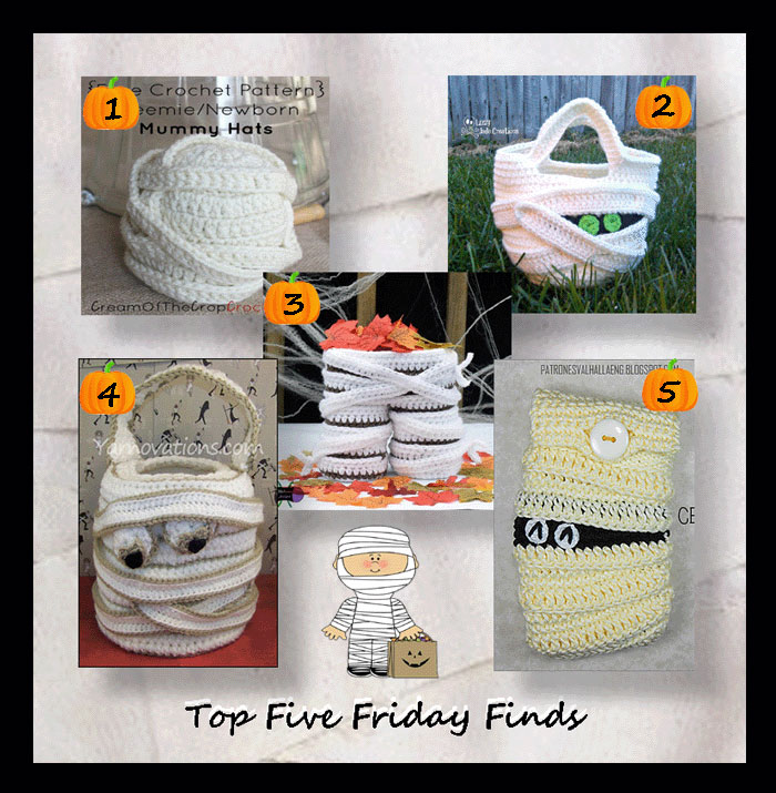 Top Five Friday Finds in crochet patterns for Halloween mummies