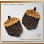 Autumn Acorn Coasters - free crochet pattern for fall acorn-shaped coasters