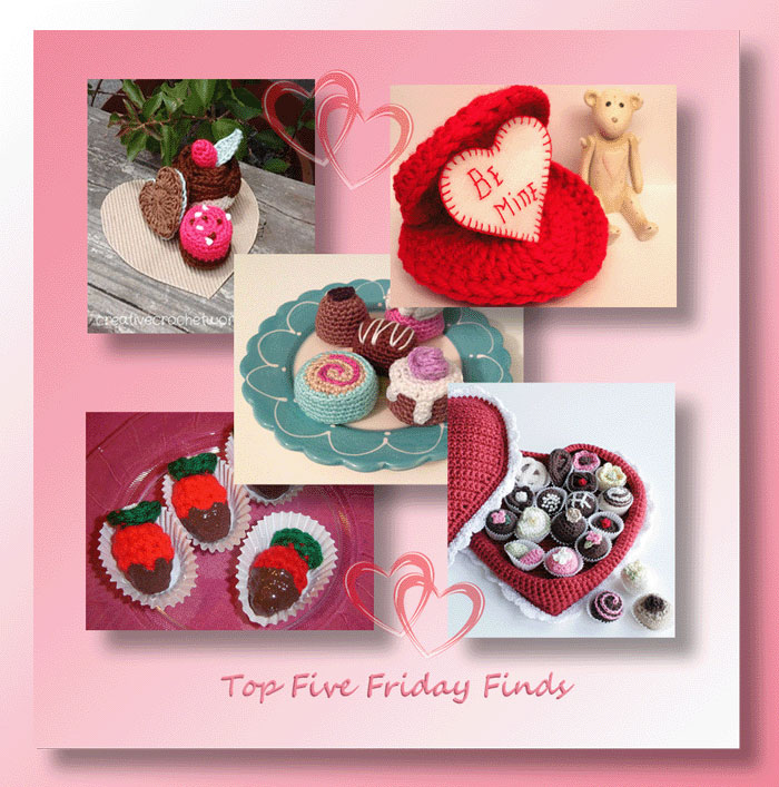 Top Five Friday Finds in free crochet heart boxes and chocolates