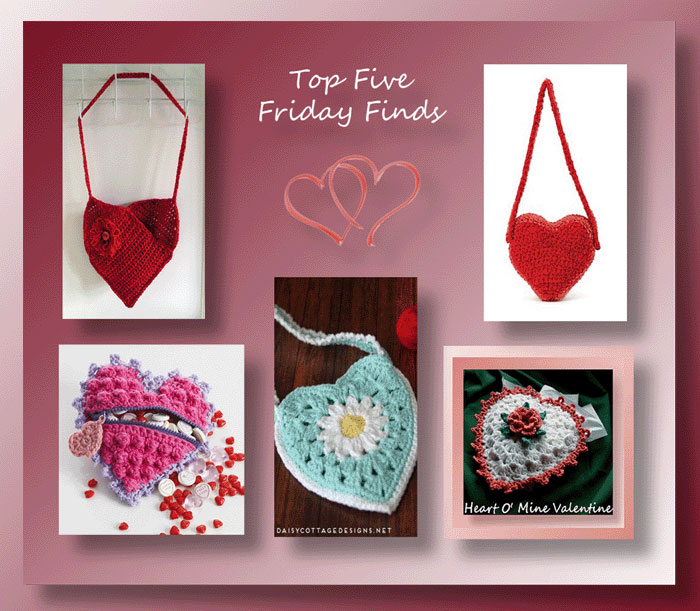 Top Five Friday Finds in crochet heart shaped bags & pouches