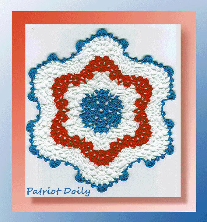 Patriots Crochet Afghan Pattern Free : Patriot Doily - Crochet 4th of July Patterns - Crochet ...