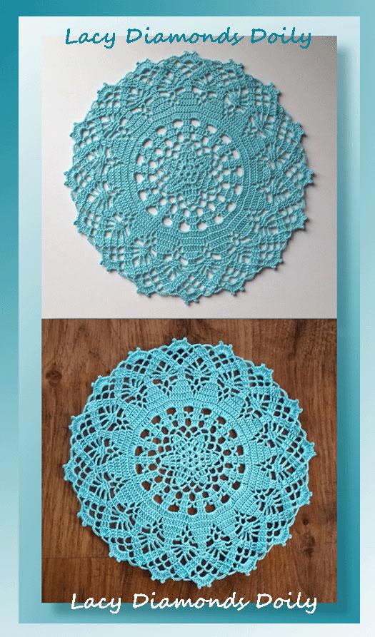 Lacy Diamonds Doily     Free Crochet Doily Pattern