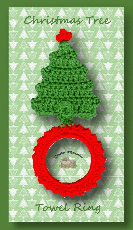 christmas tree towel ring  u2013 free crochet christmas pattern