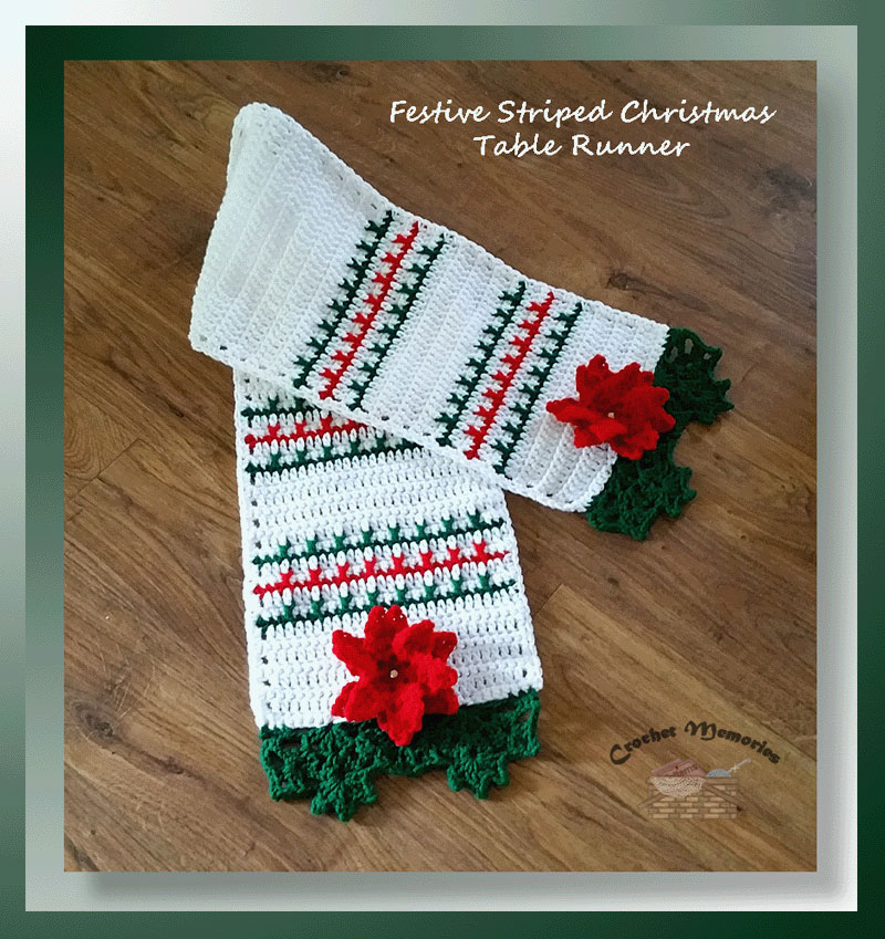 Christmas Table Runner Patterns Free.Festive Striped Christmas Table Runner Crochet Memories Blog